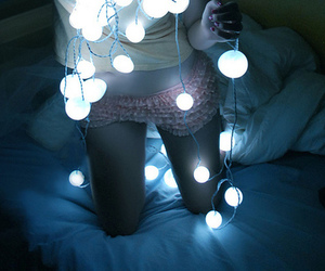 light, girl, and bed image
