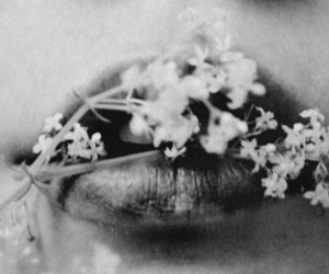 flowers, black and white, and lips image