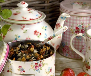 tea, strawberry, and flowers image