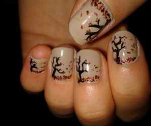 autumn, nails, and tree image