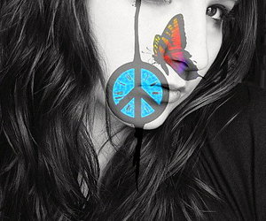 butterfly, girl, and peace image