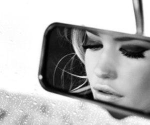 girl, car, and mirror image