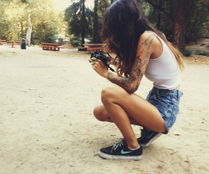 girl, tattoo, and nike image