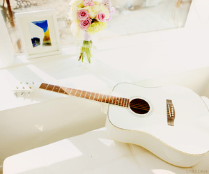guitar, white, and music image