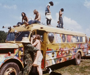 hippie, woodstock, and bus image