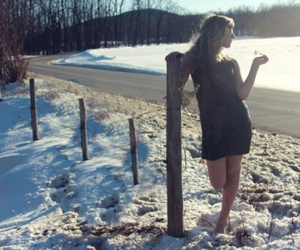 fence, snow, and girl image