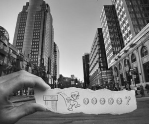 mario, city, and black and white image