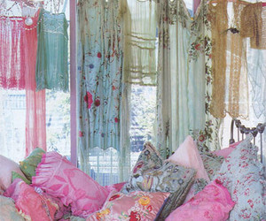 bedroom, pillows, and dresses image