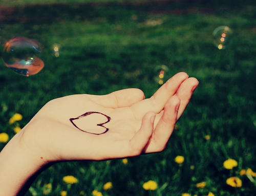 heart, bubbles, and hand image