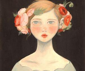 girl, illustration, and flowers image