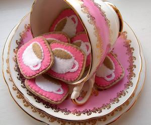 pink, tea, and coffee image