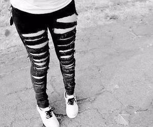 girl, black and white, and jeans image