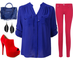 outfit, red heels, and Polyvore image