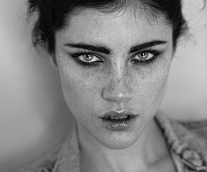 black and white, eyes, and model image