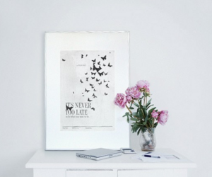desk, flowers, and Late image