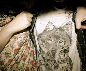 wolf, shirt, and flowers image