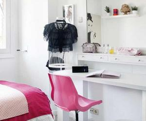 bedroon, pink, and table image