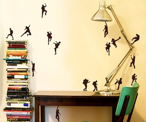 books, room, and wall image