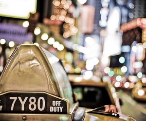 new york, taxi, and light image