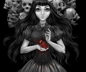 skull, black and white, and art image