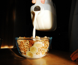 milk, banana, and cereal image