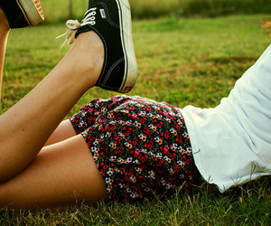 girl, vans, and flowers image