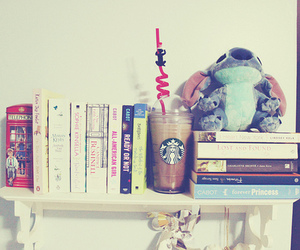 book, starbucks, and stitch image