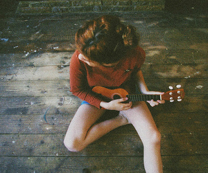 girl, guitar, and vintage image