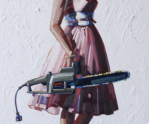 art, chainsaw, and girl image