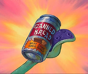 spongebob, canned bread, and squidward image