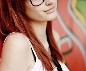 girl, red hair, and glasses image