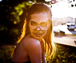 makeup, skull, and sunlight image