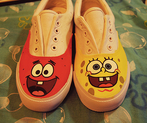 shoes, spongebob, and patrick image