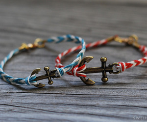 bracelet, anchor, and red image