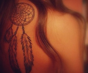 tattoo, girl, and dream catcher image