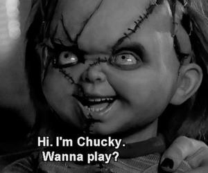 Chucky, black and white, and movie image