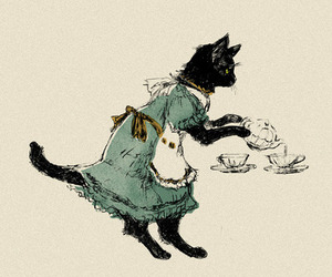 cat, tea, and dress image