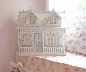 pink, doll house, and dollhouse image