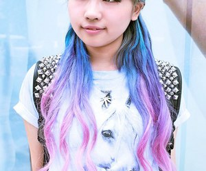 hair, asian, and purple hair image