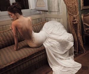 back, dress, and wedding image