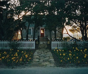house, flowers, and nature image