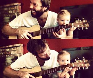 baby, guitar, and dad image