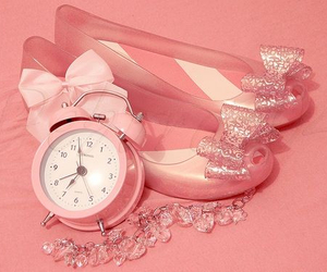 pink, shoes, and clock image