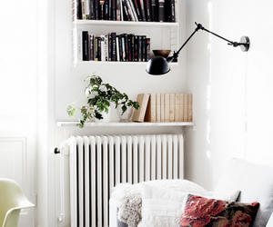 armchair, books, and bright image