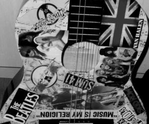 black and white, guitar, and musica image