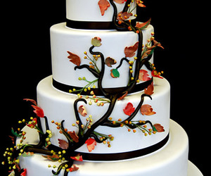 art, cake, and leaves image