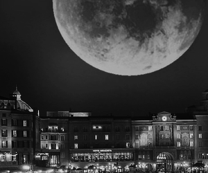 black and white, city, and moon image