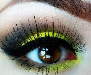 makeup, yellow, and eye image