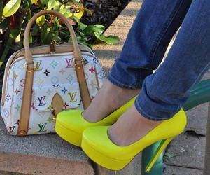 shoes, yellow, and bag image