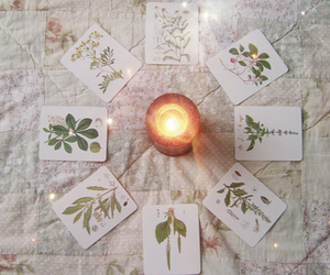 candle, cards, and pagan image